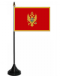 Montenegro Desk / Table Flag with plastic stand and base.